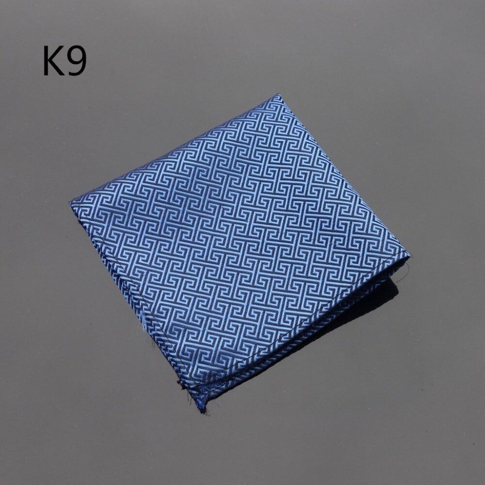 Ikepeibao Handkerchief Checked Zigzag Checked Blue Hankie Men Tie Jacquard Woven Pocket Square Fashion