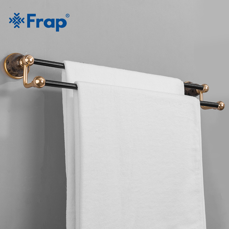 Frap Retro Black Gold Space Aluminum Towel Bar With Double Robe Wall Mounted Bathroom Accessories Towel Rack Towel Shelf Y18087 aluminum wall mounted square antique brass bath towel rack active bathroom towel holder double towel shelf bathroom accessories