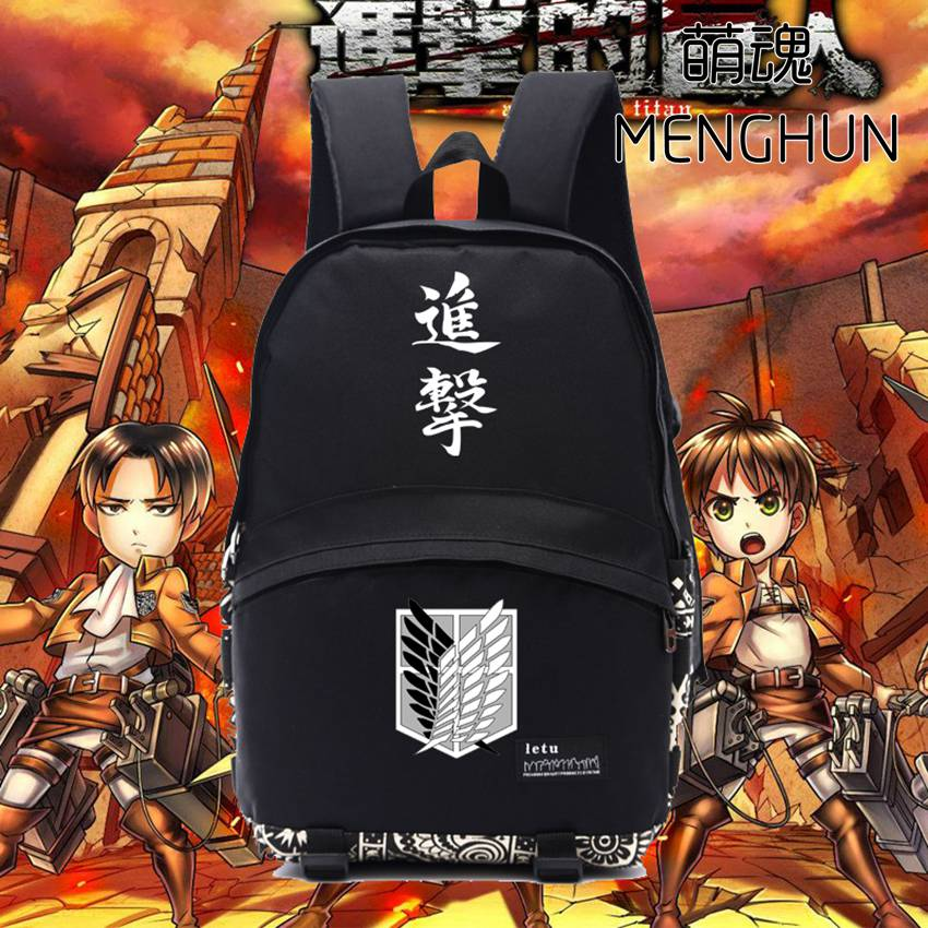 Attack on titan /  Shingeki no Kyojin new designed  wings of liberty printing backpacks black nylon attack on titan bag NB061 the sirens of titan