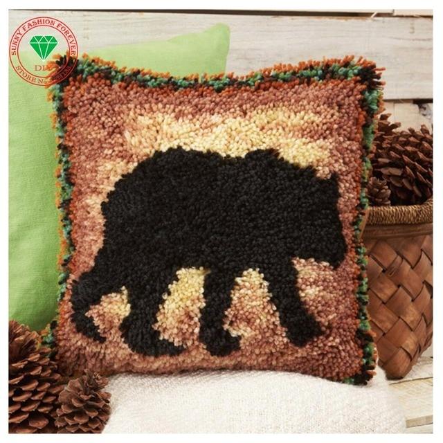 Diy Pillow Cushion Decor Carpet Latch Hook Rug Kits Pillowcase Home Crochet Hooks