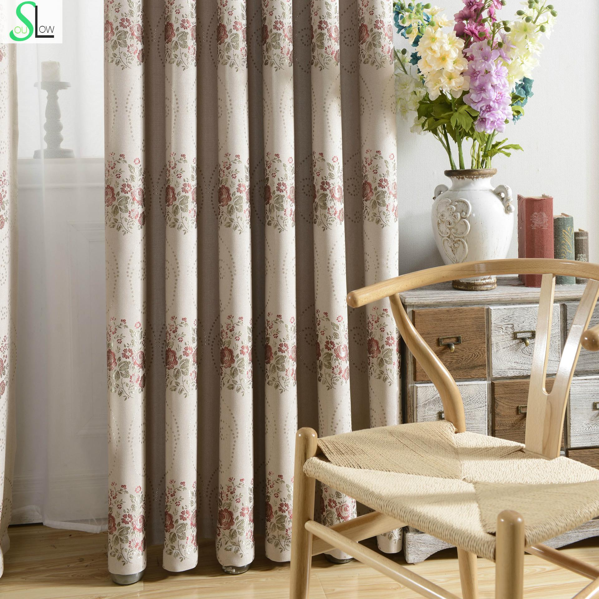 Cheap red curtains - Slow Soul Gray Red Jacquard Linen Fabric Shading Curtain Floral Curtains For Living Room Kitchen European