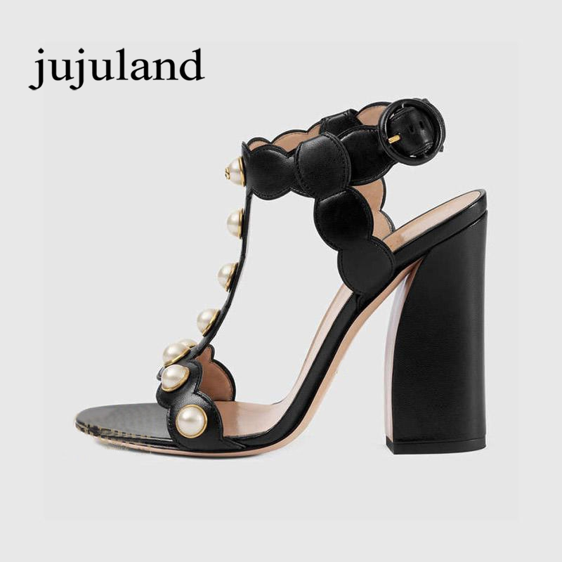 Summer Women Sandals Genuine Leather Fashion Casual Super High Square Heel Big Size Buckle Strap String Bead Pearl T-tied Solid xiaying smile summer new woman sandals platform women pumps buckle strap high square heel fashion casual flock lady women shoes