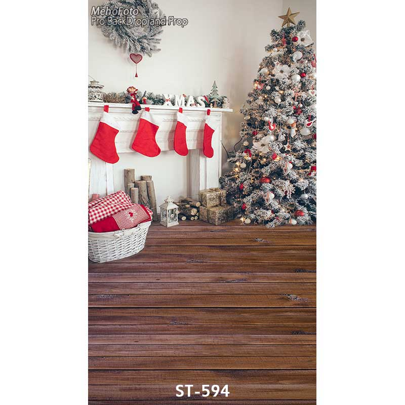 Christmas background vinyl photography backdrops Computer Printed christmas fire place , tree Photo studio ST-594 white 3d decorations xmas tree hall fireplace room backdrops vinyl cloth computer printed christmas photo studio background