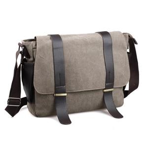 Image 5 - Fashion mens bag PU Leather Shoulder bag men Crossbody Bags For Mens Canvas Business Messenger Bag Men Black Satchels