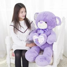new plush bow purple teddy bear toy high quality bear doll hold a heart about 100cm
