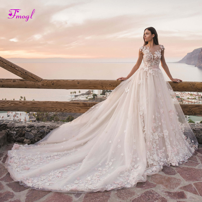 Vestido de Noiva Scoop Neck Beaded Flowers A Line Wedding Dresses 2019 Gorgeous Appliques Court Train