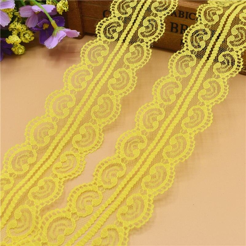 Новый 10 ярдов красивый желтый кружево, лента, тесьма 45 мм кружевная бейка ткань своими руками, вышитое Тюлевое кружева для шитья украшение кружевная ткань