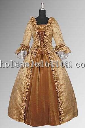 17th Century Baroque Renaissance Dress Handmade in Velvet and Baroque Damask Costumes