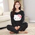 2016 Mulheres Pijamas de Inverno Quente Pijama Unicornio Ponto Preto Kitty Homewear Conjuntos Pijamas Femme Manga Comprida de Lã Sleepwear