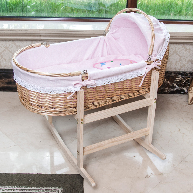 2019 New Upgrade Wooden Portable Baby Cradle Bed With Roller Baby Rocker 360 Degree Rotating Wheel New Born Baby Crib 0-24M