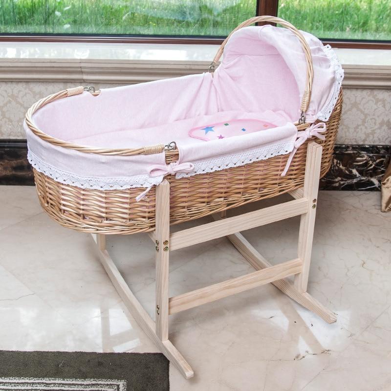 Berceau Portable en bois pour bébé 0 à 24M | Lit avec roulettes, roue rotative sur 2019 degrés, nouveau berceau pour nouveau né, 360