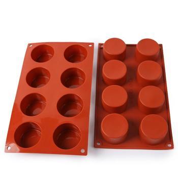 "DHL 200 Uds 8 agujeros molde redondo de silicona para pasteles 3D hecho a mano gelatina para ""Cupcake"" galleta Magdalena jabón hacedor DIY herramienta para hornear SN425"