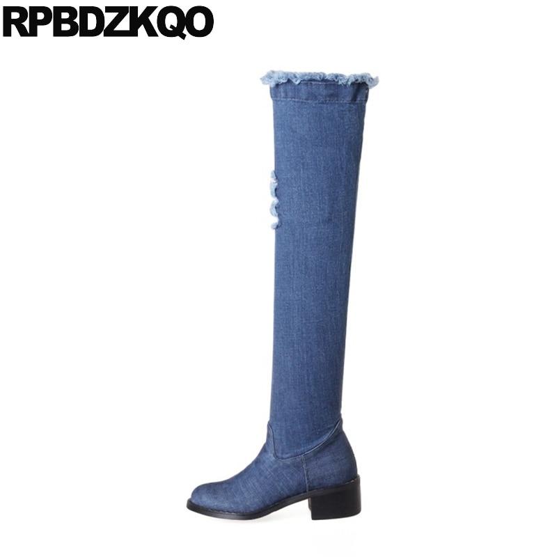Grand Jeans Sur blue Denim Bottes Le Haute 43 Cuisse Chunky 11 Femmes Rond Blue Faible Bout Chaussures Longue Bleu Genou 1 Talon 10 Taille Zipper 2 Automne Mince ft0AqFZgw