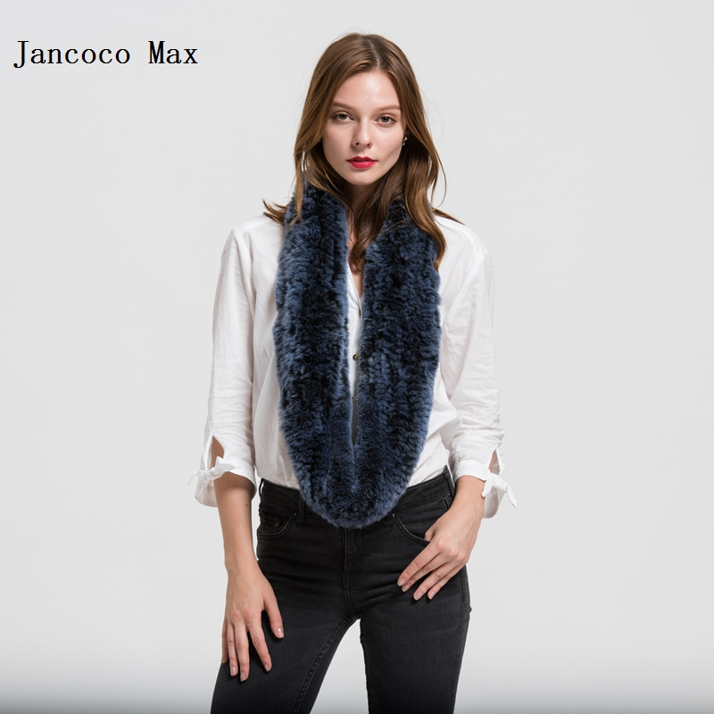 Jancoco Max S1706 New 2017 Real Fur Scarf Rex Rabbit Thick Knitted Women Winter Warm Scarves