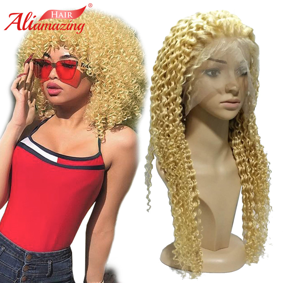 Ali Amazing Hair 350% Density Brazilian Glueless Lace Front Wigs #613 Blonde Kinky Curly Remy Human Hair Wigs With Baby Hair