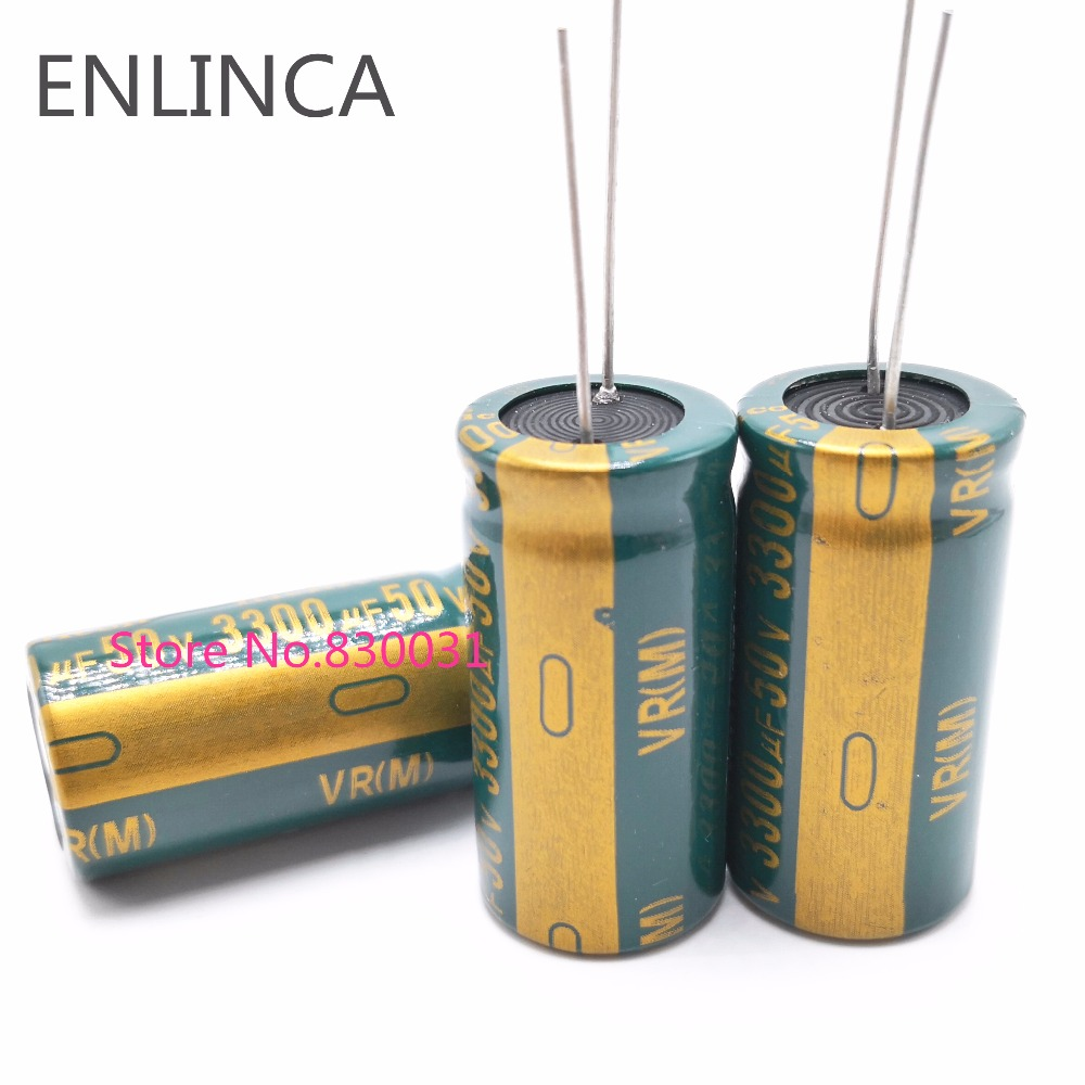 2pcs/lot <font><b>50V</b></font> high frequency low impedance <font><b>50V</b></font> <font><b>3300UF</b></font> aluminum electrolytic capacitor size 18*35 3300UF50V 20% image
