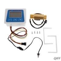 Digital Flow Meter Water Flowmeter Temperature Time Record with G1/2 Flow sensor Mar28