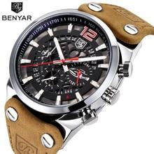 2018 BENYAR Top Brand Luxury Sport Mens Watches Fashion Military Waterproof Leather Quartz Watch Clock Man Relogio Masculino