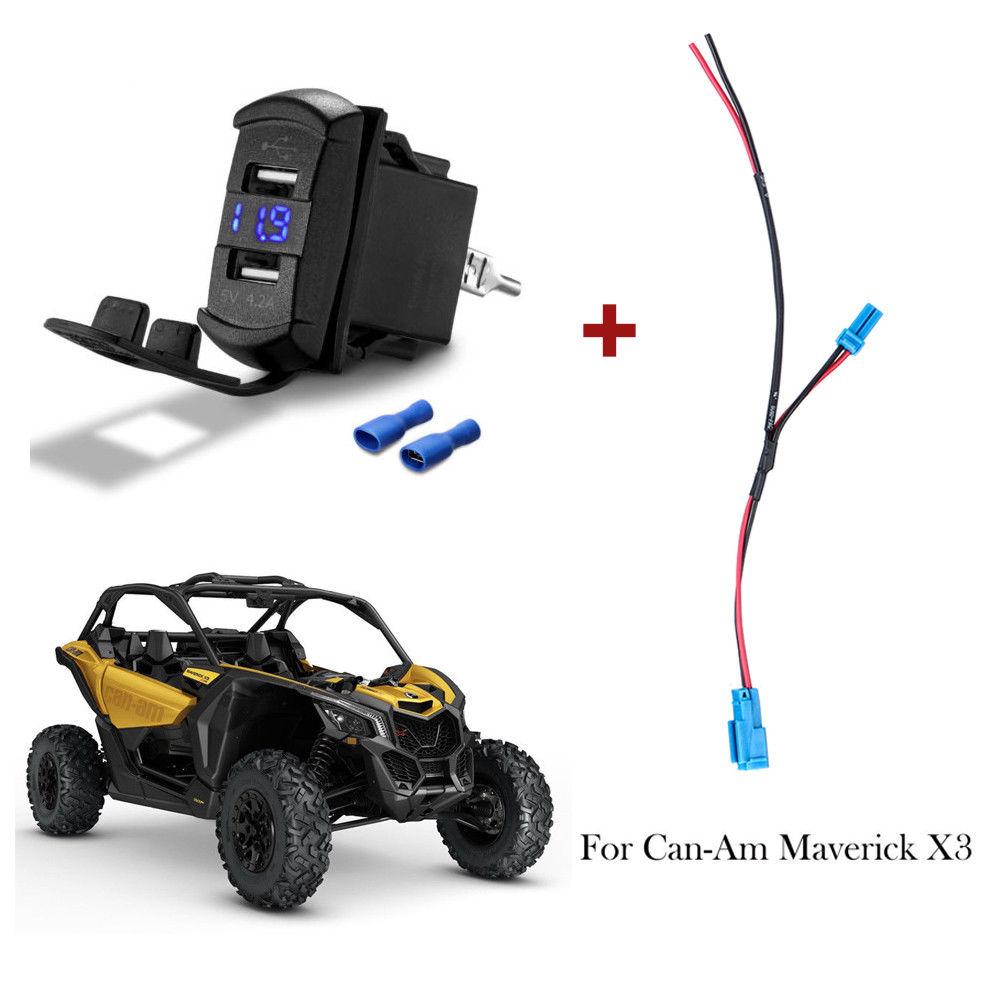 KEMIMOTO Power Port Wiring Pigtail + Dual USB LED Charger Socket UTV ATV For Can-Am Maverick X3 For Polaris RZR Ranger Off-road