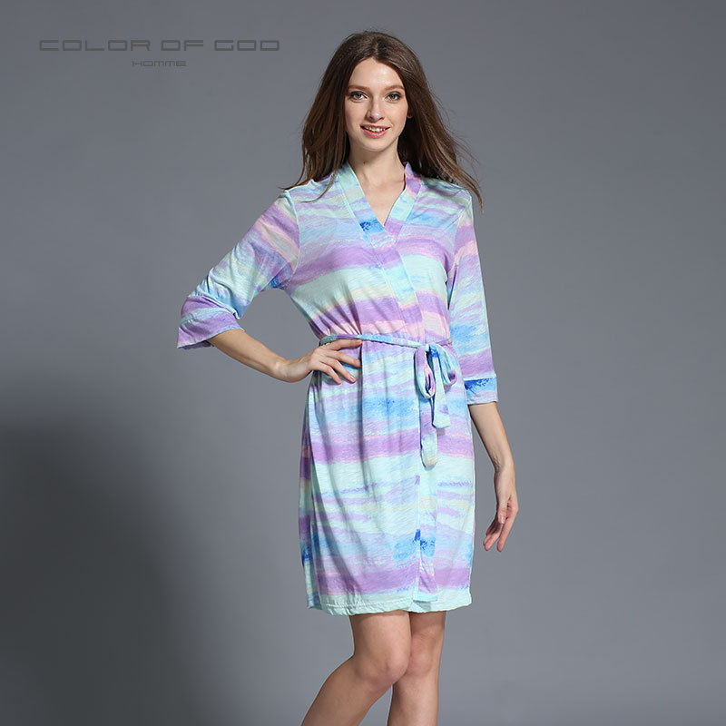 Autumn Rainbow Pajamas For Women Cotton Kimono Bathrobe Female Mid-Sleeve Nighty Nightgown Pijamas Nightie Sleepwear
