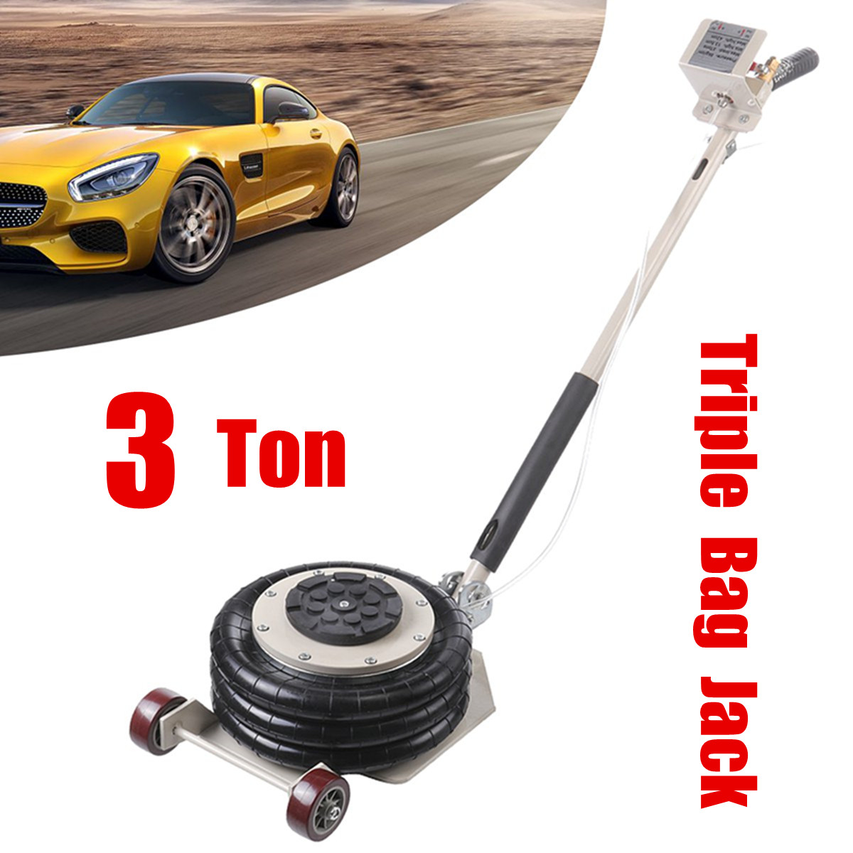 3T Pneumatic Car Jack Portable Lift Triple Stage Bag Air Go Jack Frame Alignment Car Truck Shop Lifting Equipment Tire Change