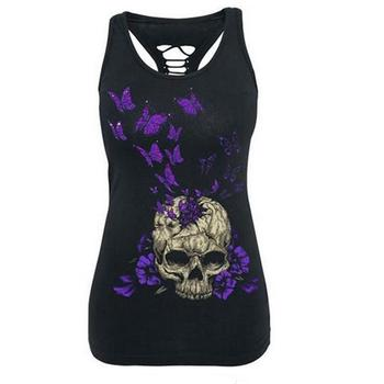 Casual Skull Print Floral T Shirt 1