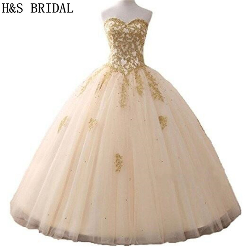 H S BRIDAL Ball Gown Quinceanera Dresses Woman Party Gowns Long robe de soiree sequins Prom