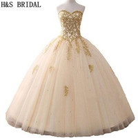H&S BRIDAL Ball Gown Quinceanera Dresses Woman Party Gowns Long robe de soiree sequins Prom Dresses In Stock