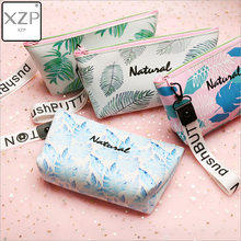 XZP Women Travel PU Toiletry Cosmetic Bag Pencil Make Up Makeup Case Storage Pouch Purse Organizer Cactus printing Students bags цены