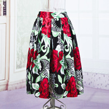 New Colorful Flower Printed Summer Style Women s Fashion Skirt Elegant Solid 2 Color A Line