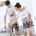 Love sleepwear Set Summer Womens Pajamas Cotton Short-sleeved Pyjamas Men Couple Pajamas Set