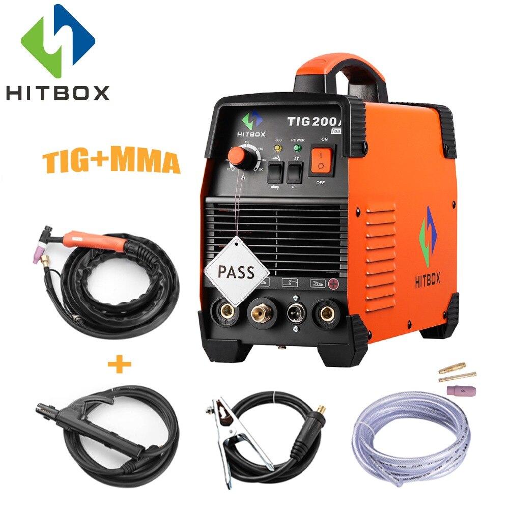 HITBOX Tig Soldador TIG ARC 2 TIG200A Monofásico 220 V Dual Funções TIG MMA T 4 T Tecnologia de Soldagem máquina Com Acessórios