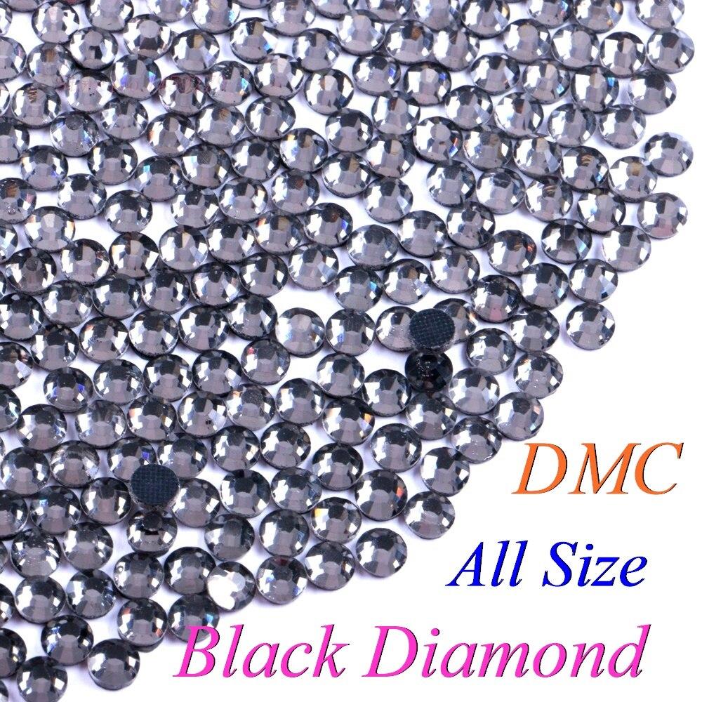 Todo o Tamanho! Preto diamante cor dmc hotfix strass ss6 ss10 ss16 ss20 ss30 pedras de vidro quente ferro-no flatback com cola