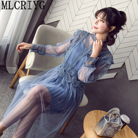 Women Summer Dress 2018 Plus Size 5XL Elegant Sweet Evenning Party Dresses Womens Blue Suits Sling +Dress Sundress Vestidos LX79