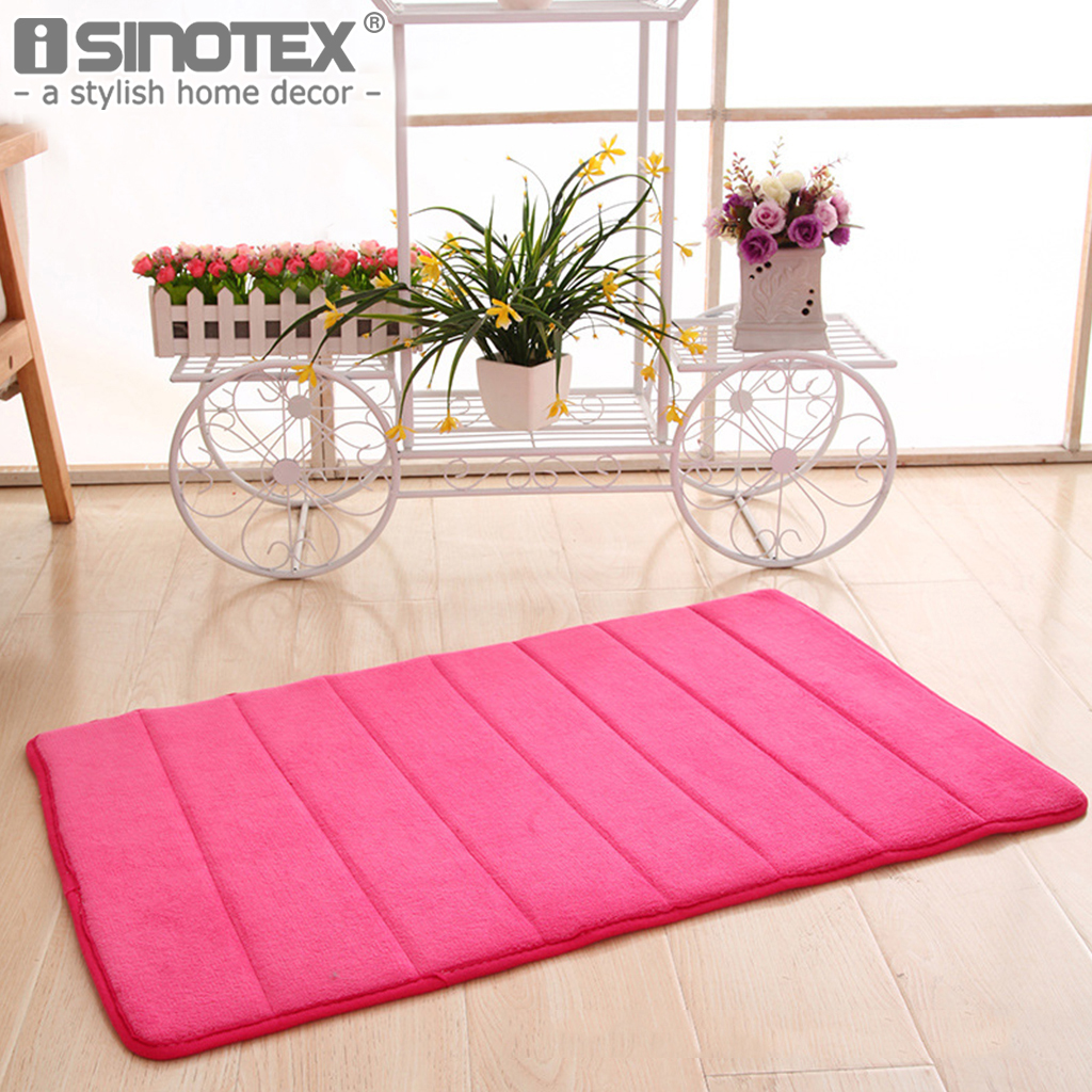 Memory Foam Floor Bath Mat Coral Velvet Anti-slip Bathroom Rug Magnificent 40x60 50x80 Stripe Fleece High Absorbency Carpet