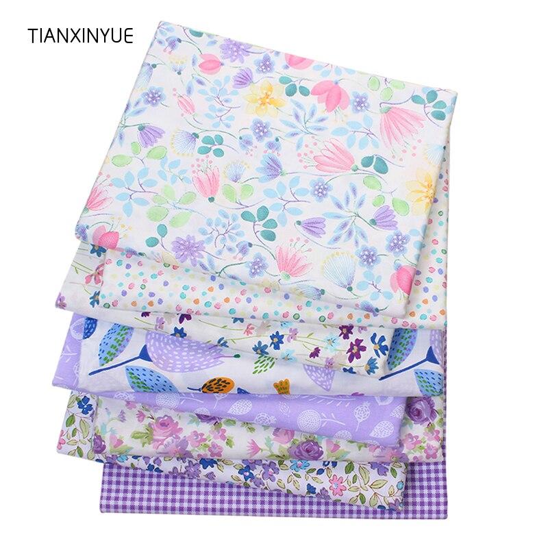 TIANXINYUE Sarja de Algodão Tecido Patchwork Quilting Roxo Floral Tecido Pano DIY Costura Baby & Crianças Folhas Material do Vestido
