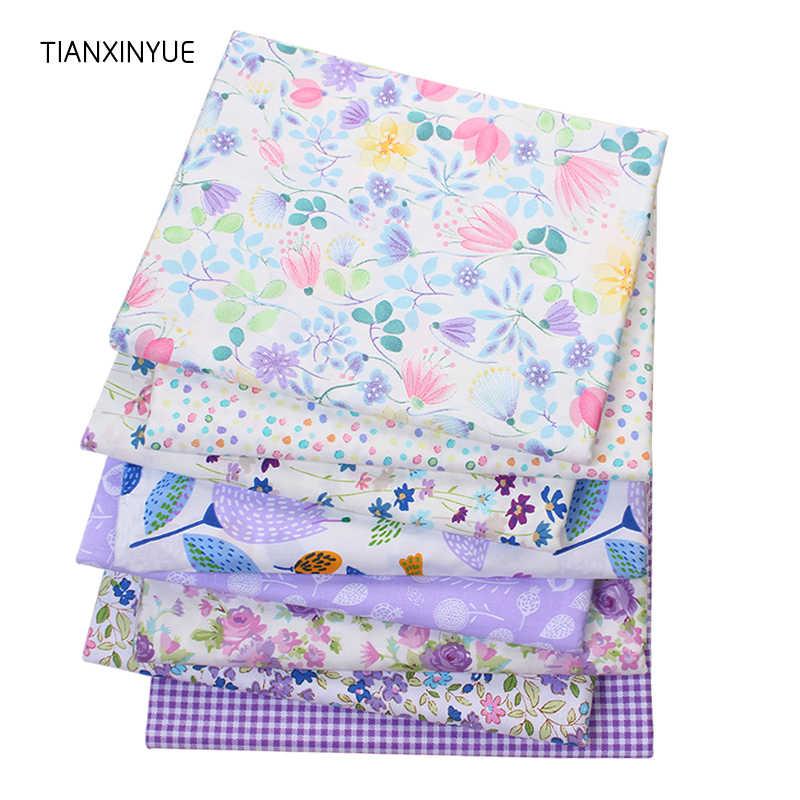 TIANXINYUE Twill лоскутное изделие из хлопчатобумажной ткани фиолетовый цветок ткани DIY лоскутное шитье Детские простыни материал платья