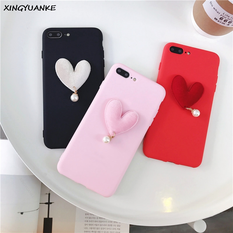 3D Luxury Case For OPPO R7 Plus Case Cute Love Heart Pearl Coque For OPPO R7S Case Soft Silicone Slim Cover Capa