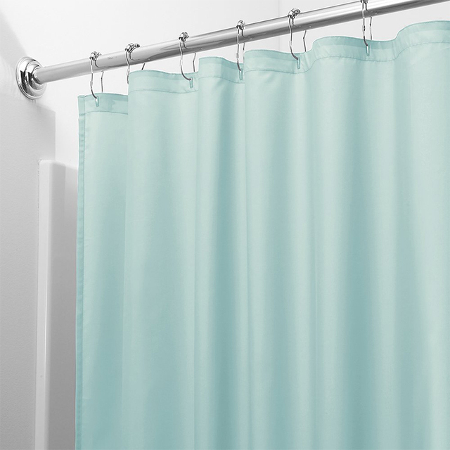 Light Solid Polyester Shower Curtain Mildew Resistant Bath Curtain For Hotal Waterproof Fresh Durable Bathroom Partition Curtain 1