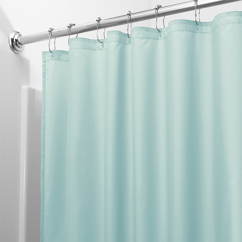 Image 2 - Light Solid Polyester Shower Curtain Mildew Resistant Bath Curtain For Hotal Waterproof Fresh Durable Bathroom Partition Curtain-in Shower Curtains from Home & Garden