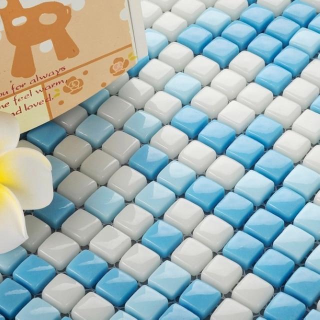 Light Blue Mixed White Color Mini Full Body Ceramic Mosaic Tiles Unique Pattern For Living Room