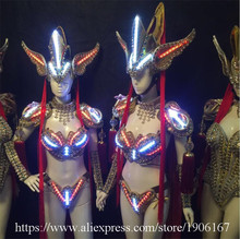 Led Luminous Sexy Evening Dress Catwalk Show Clothes Carnival Victoria Ballroom Costume Stage Performance Cosplay Clothing