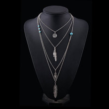 d0659d726b8b Nueva joyería de moda collar de plumas de hoja de plata collar de capa  multicapa largo collar de las mujeres