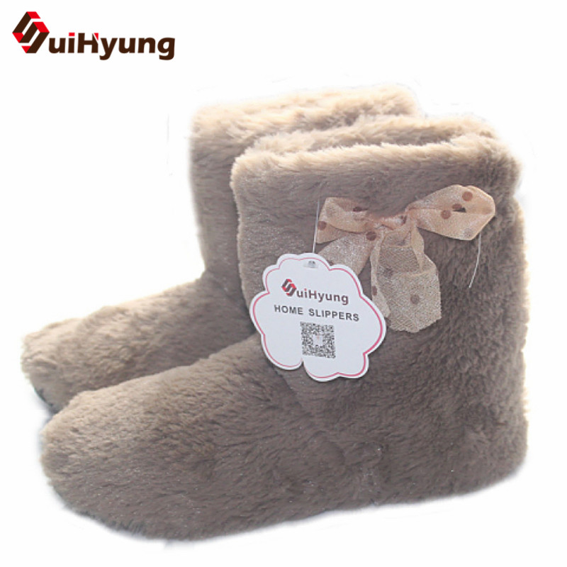 Suihyung Winter Warm Women Indoor Shoes Cotton-padded Shoes Botas Plush Thick Home Slippers Female Bedroom Floor Shoes Slippers