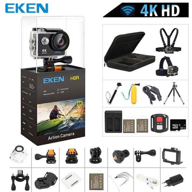 """Оригинальный eken H9/H9R действие Камера 4 К Ultra HD 1080 P/60fps мини шлем Cam Wi-Fi 2,0 """"170D Водонепроницаемый Спорт Камера"""