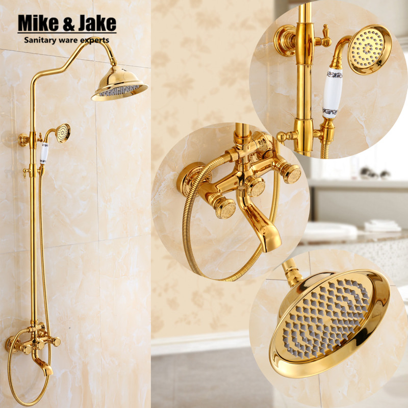 Bathroom luxury golden shower set with gold carve handle luxury bathtub mixer set with gold Bath Shower Faucet set DY8899 luxury gold rain shower set wall mount golden white paint bath and shower faucet with hand shower bathroom mixe craner
