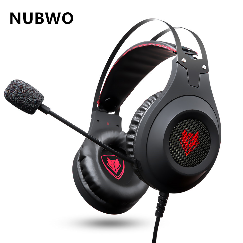 NUBWO N2U PC Gamer Headset USB Stereo Gaming Headphones with Microphone Mic LED Light Best Over Ear Casque Computer Game Headset