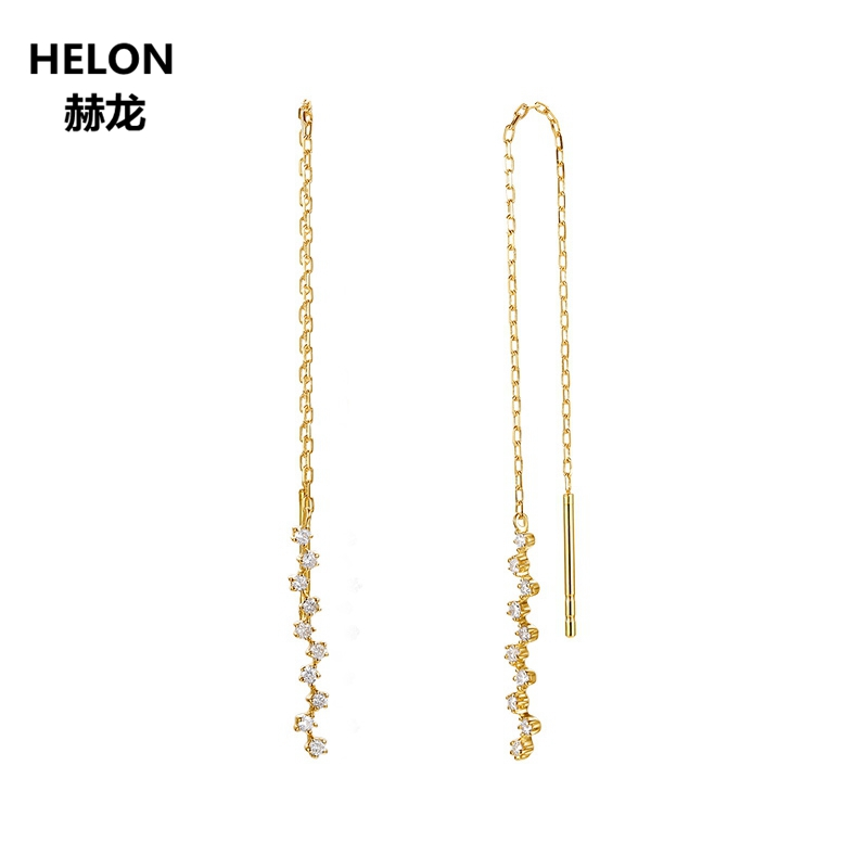 Solid 18k Yellow Gold 0.14ct SI/H Natural Diamonds Drop Earrings for Women Chain Earrings Party Anniversary Fine Jewelry solid 18k yellow gold 0 07ct si h full cut natural diamonds drop earrings for women engagement wedding fine jewelry chain