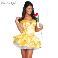 Hight Quality Polyester Sexy Lady Yellow Princess Dress Costume Stage Clothes Halloween Party Adult Women Uniform