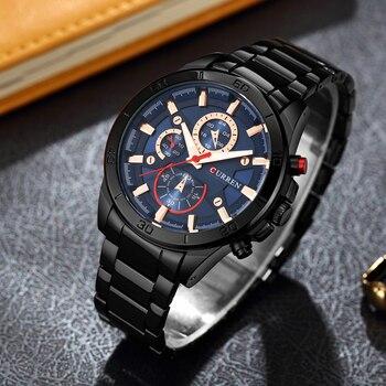 Mens Watches Curren Brand Luxury Gold Black Steel Quartz Watch Men Fashion Casual Business Wristwatches Relogio Masculino 8275